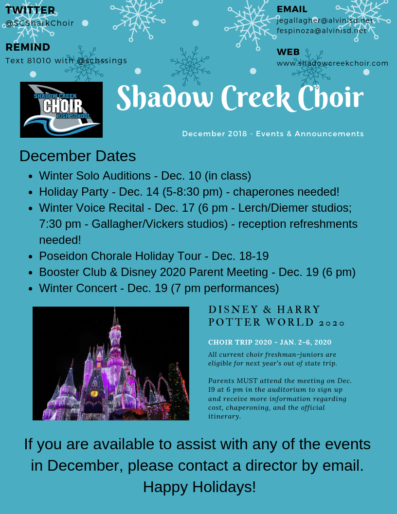SHADOW CREEK HIGH SCHOOL CHOIR - News